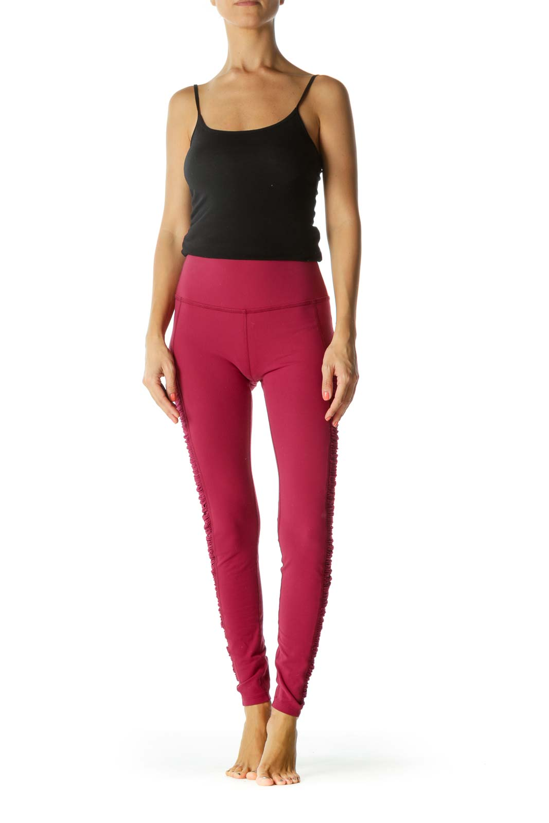 Magenta Burgundy Scrunch Leg Detail Mixed-Media Yoga Pants