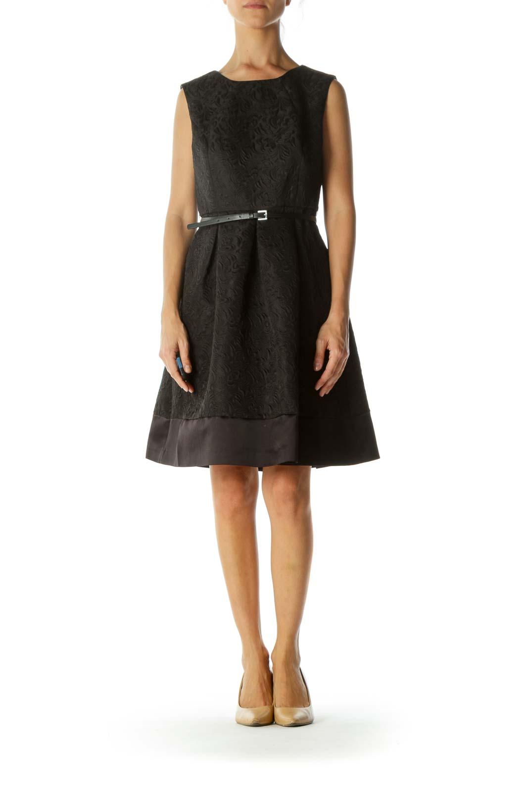 Black Floral Jacquard Belted Cinched Waist Dress