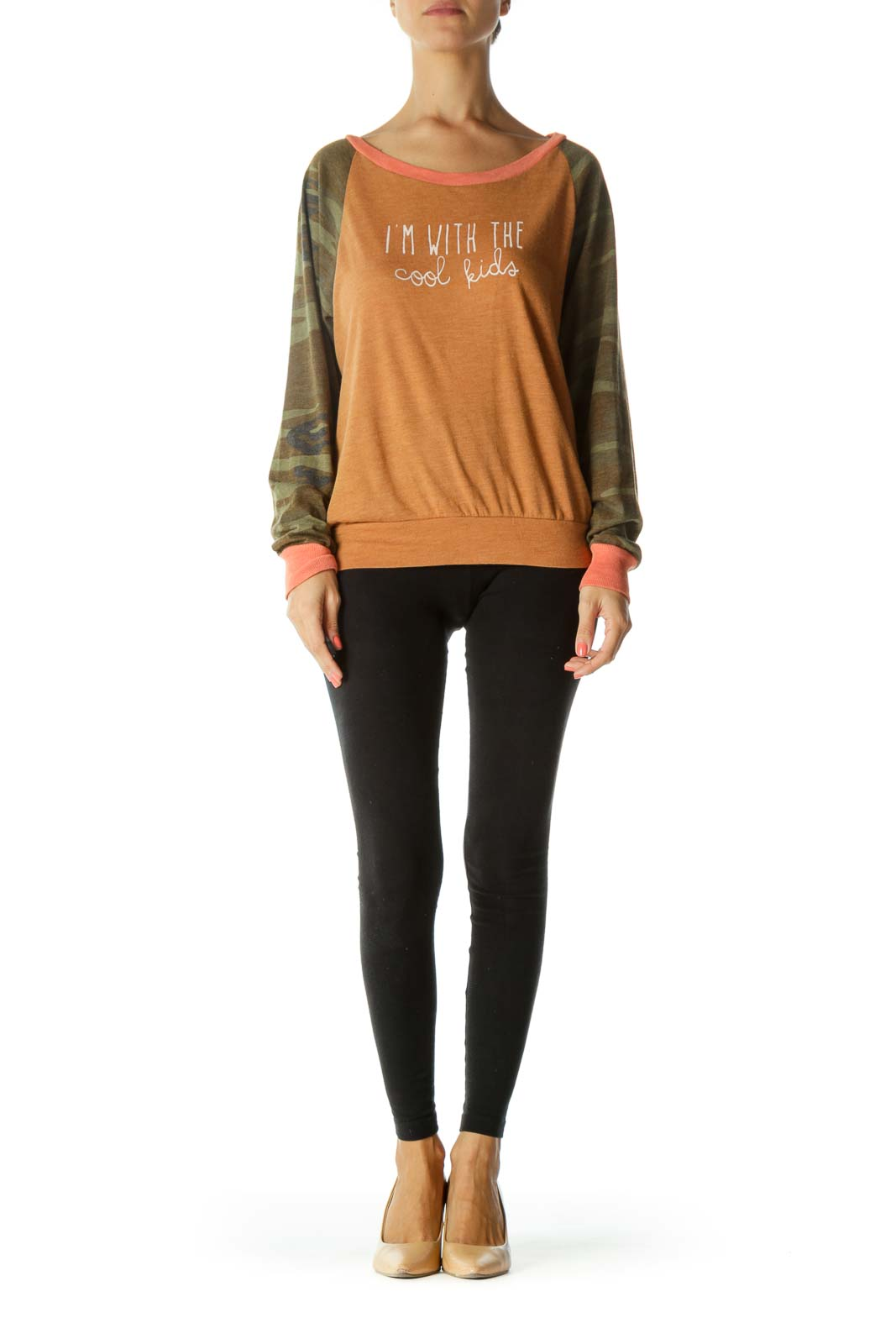Green Orange Camouflage Sleeves-Print Graphic Stretch Light Sweater