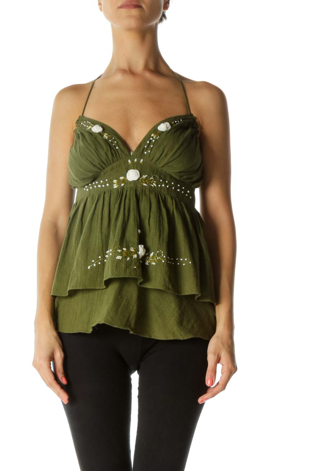 Green 100% Cotton V-Neck Floral Embroidery Flared Top