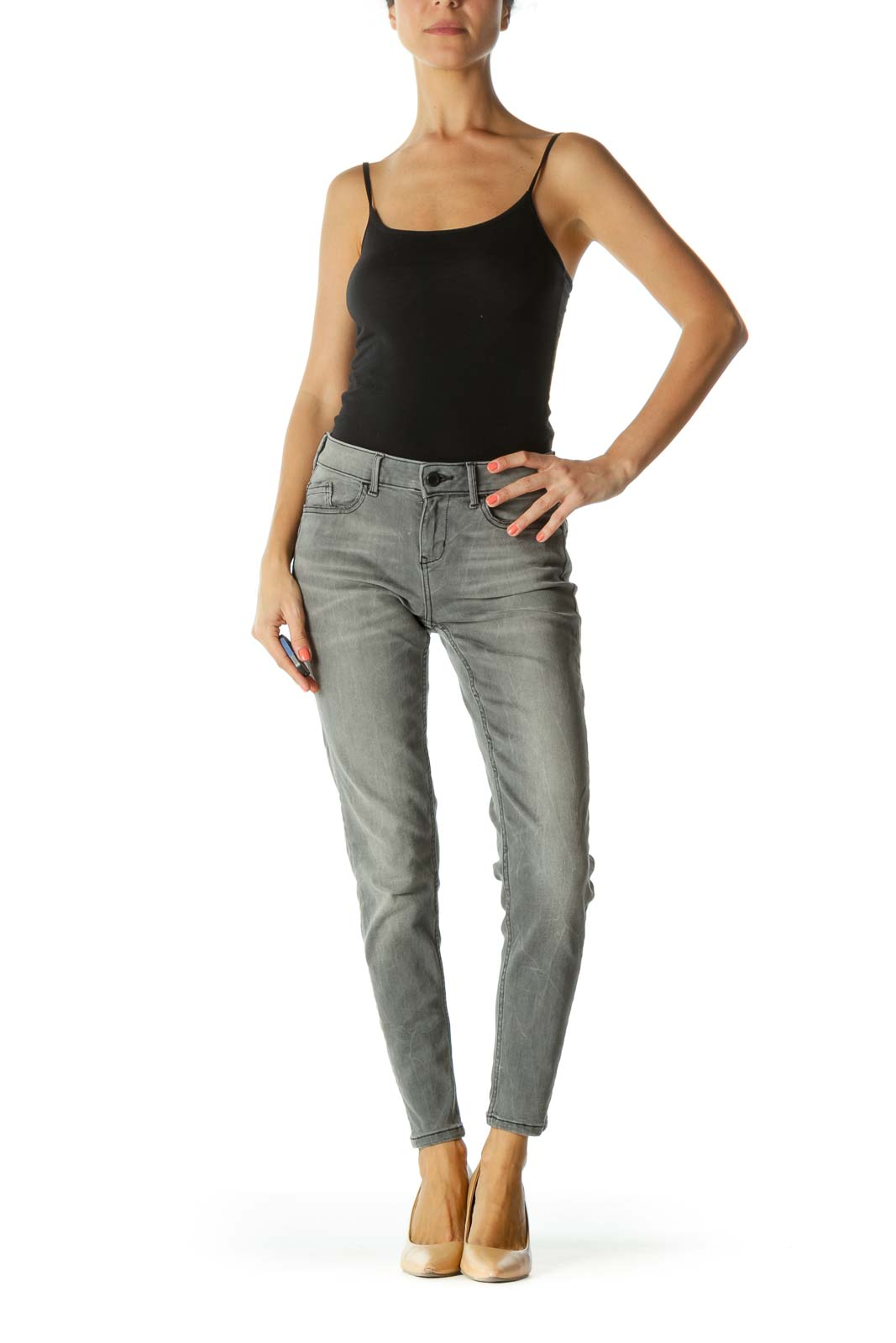 Gray Black Slight Pocket Distressing Zipper-Ankle Detail Stretch Pants