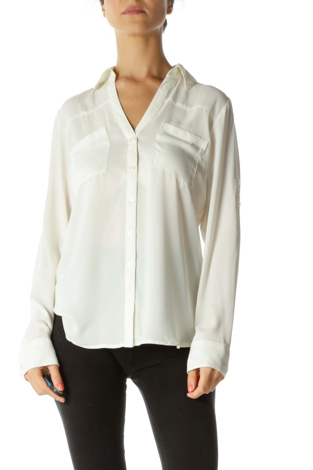 Cream Translucent Roll-Up Sleeves Pocketed Shirt