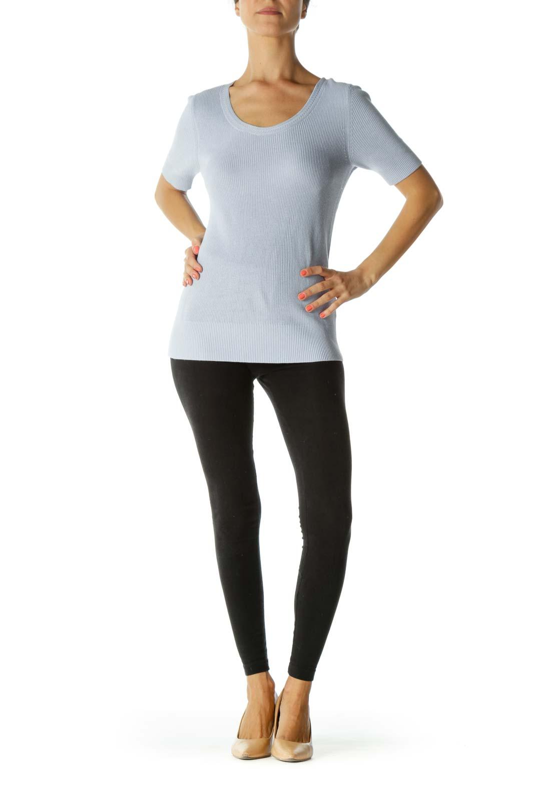Light Blue Round Neck Short-Sleeve Stretch Knit Top