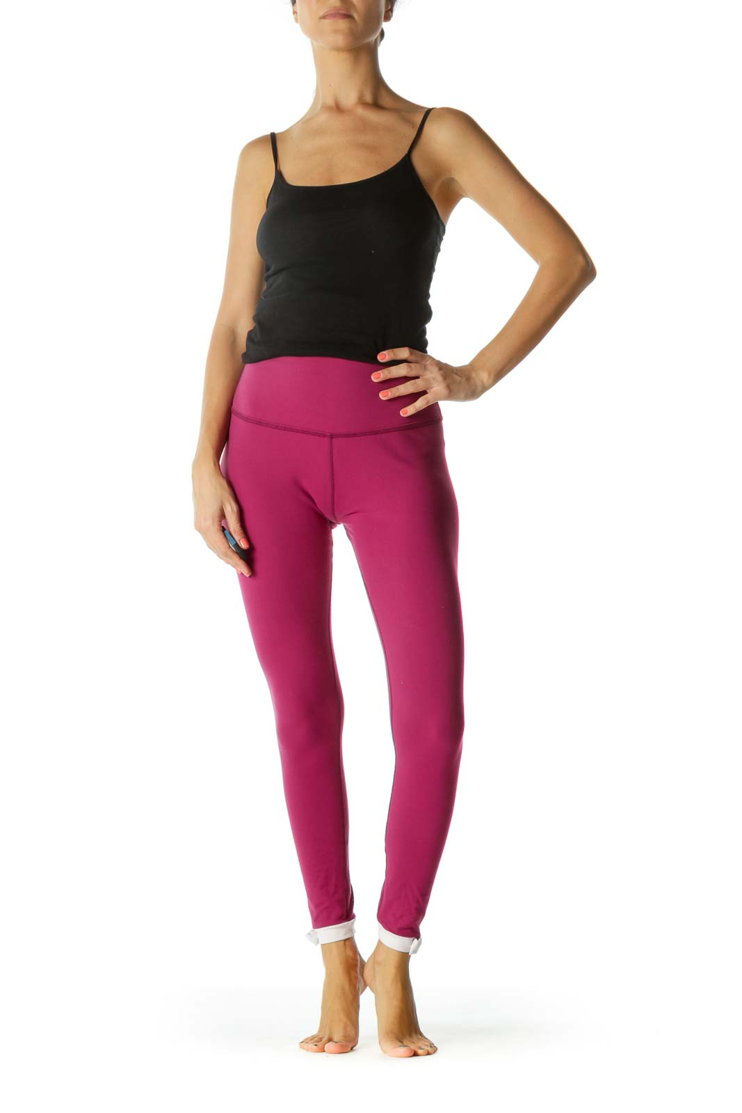 Magenta Pink Ankle-Bows Detail Yoga Pants