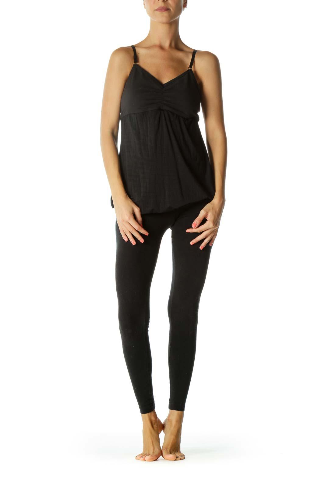 Black Scrunched Detail Open-Back Soft Torso Fabric Mixed-Media Yoga Top