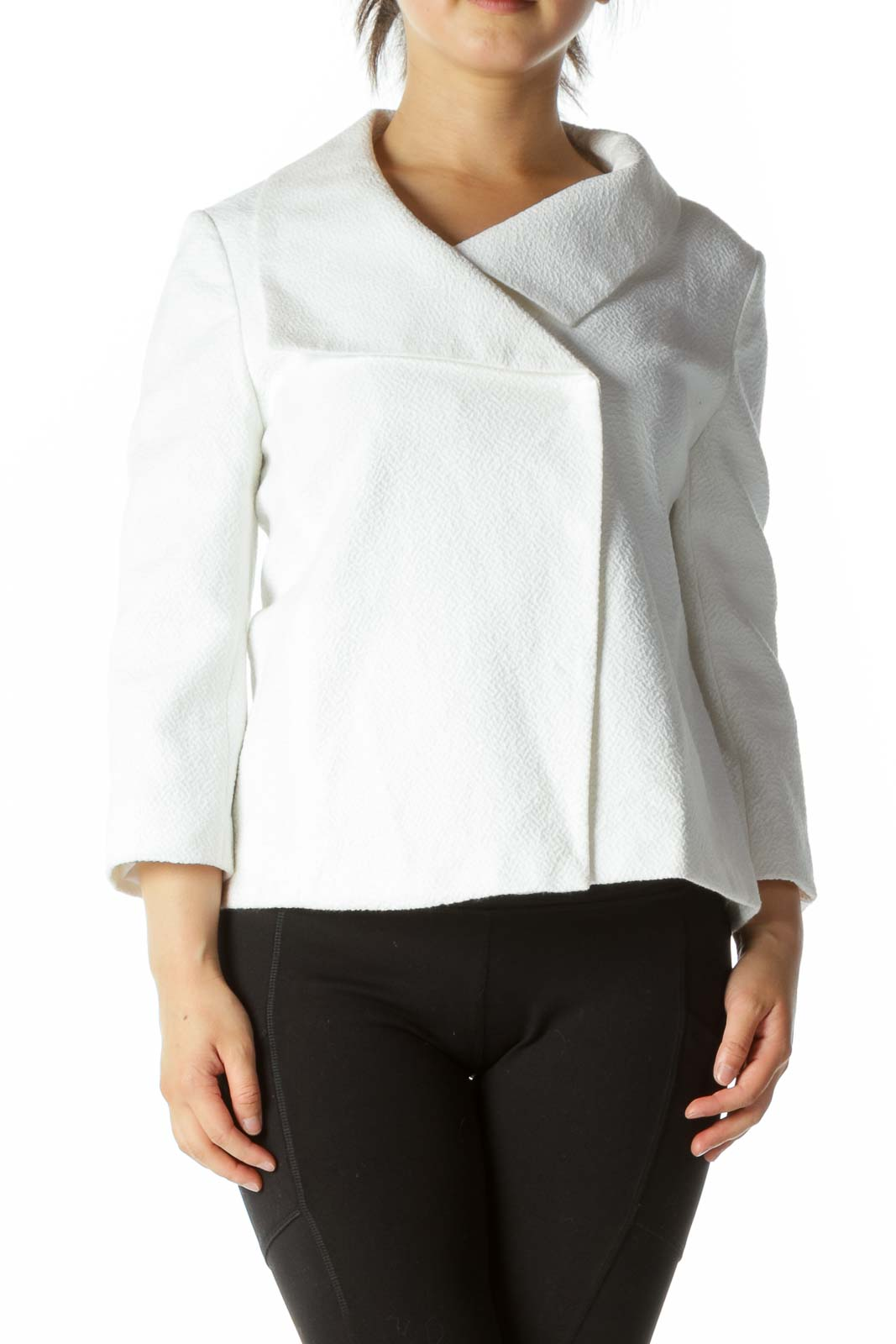 White Textured Buttoned Jacket