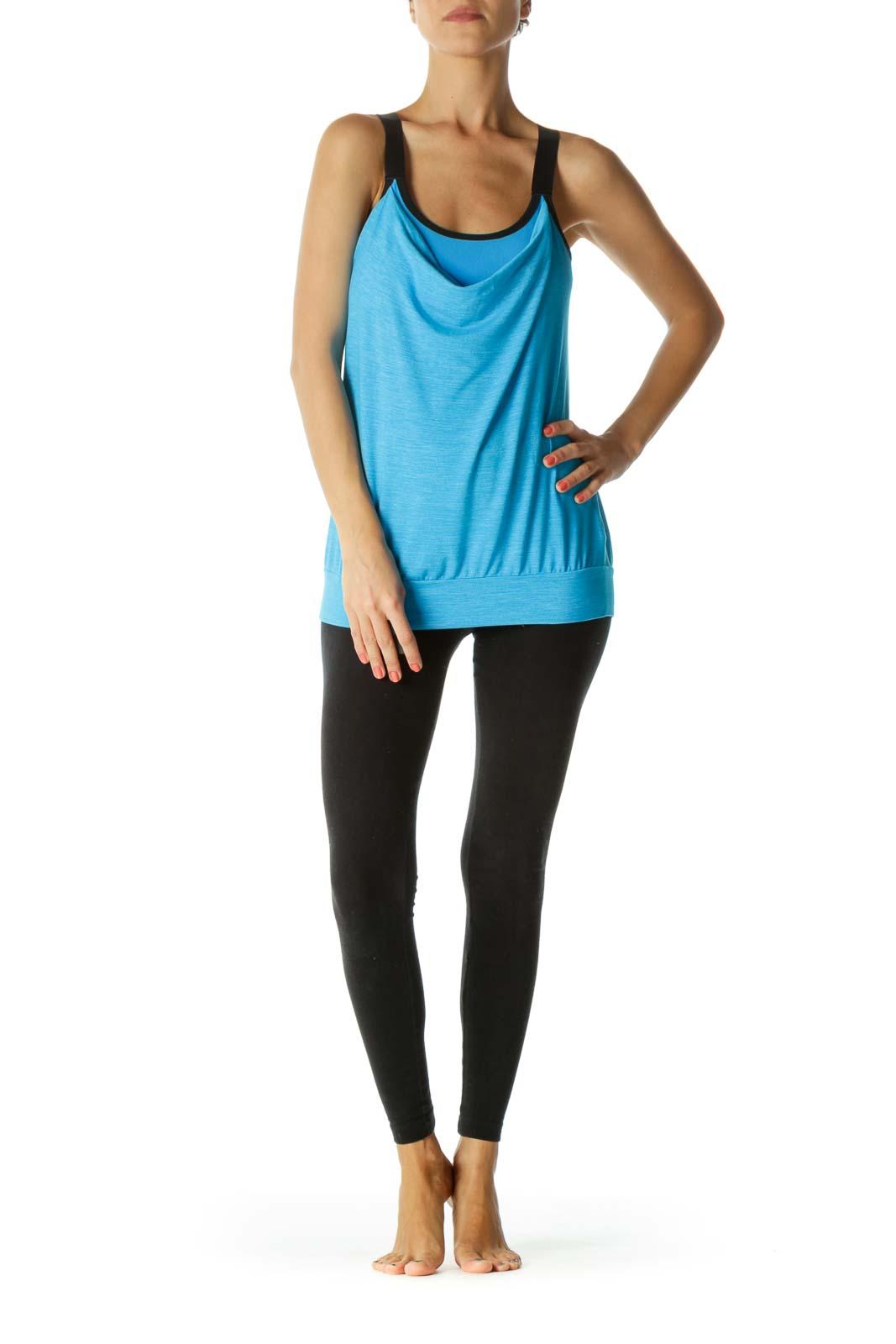 Blue Black Mottled Print Elastic Thick-Straps Crisscross Back Yoga Top