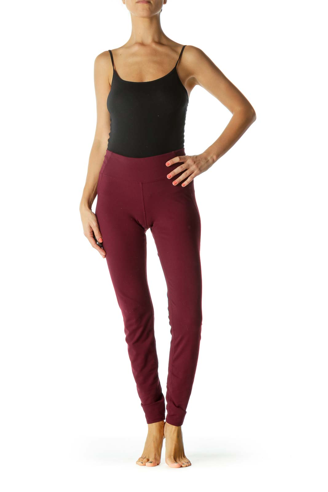 Burgundy Sports Pants with Inside Small Hip Pocket