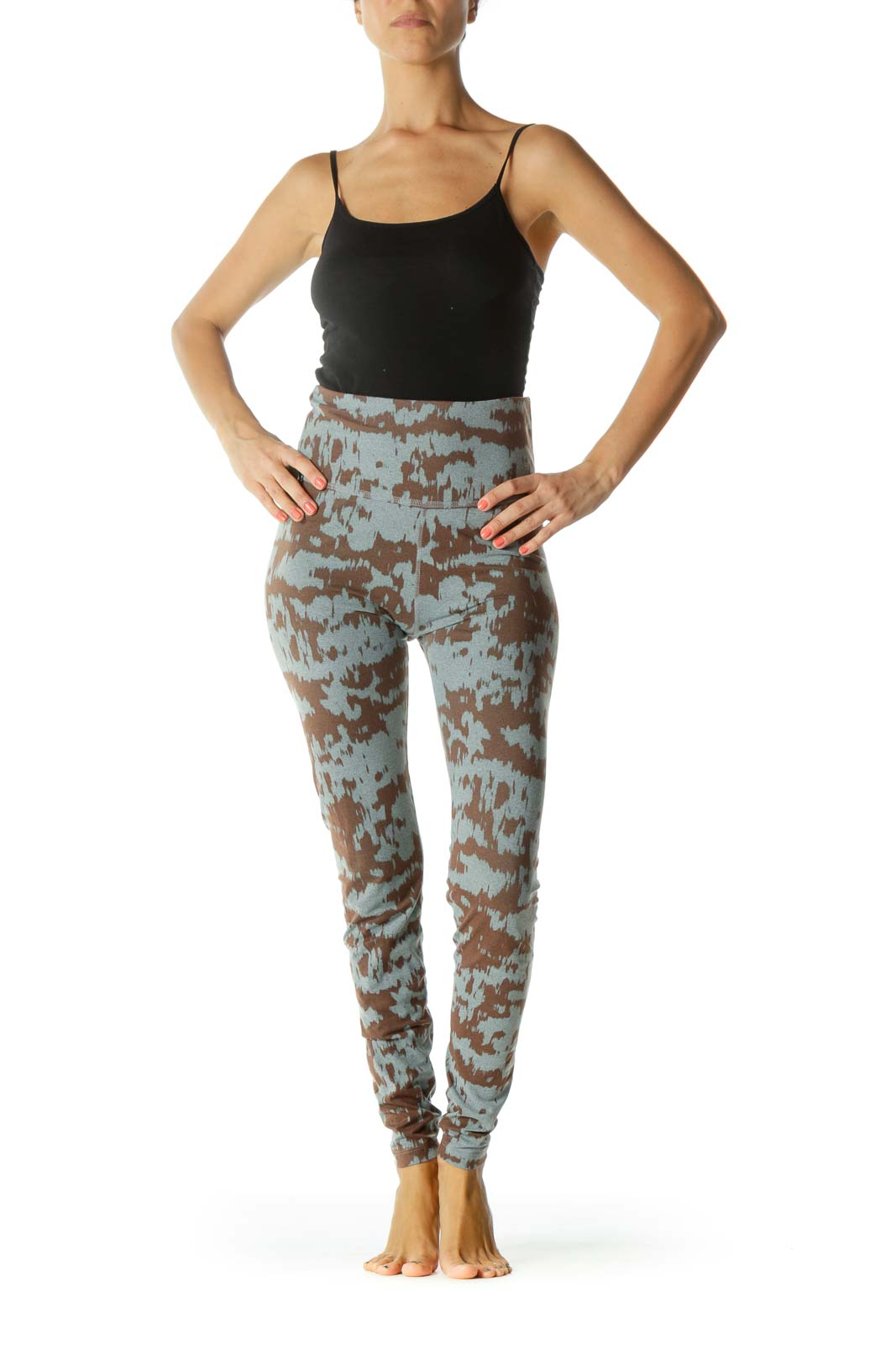Gray Brown Print Stretch Yoga Pants