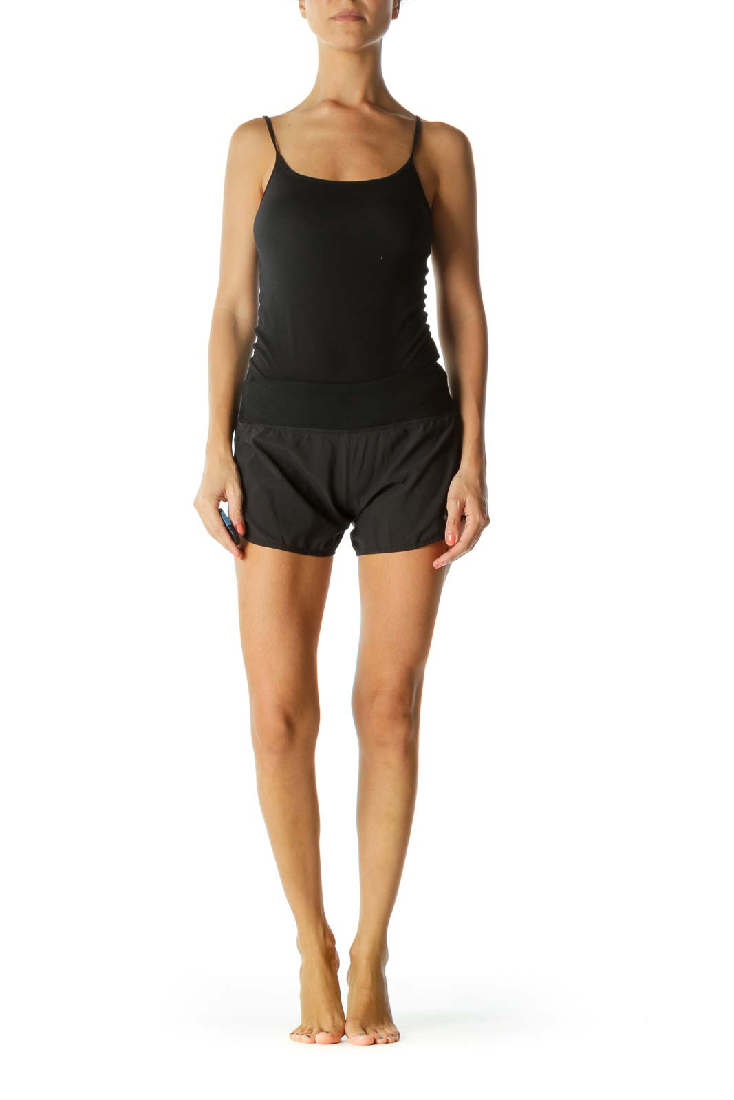 Black Elastic Band Inside Drawstring and Two Inside Hip Pockets Sports Mini Shorts