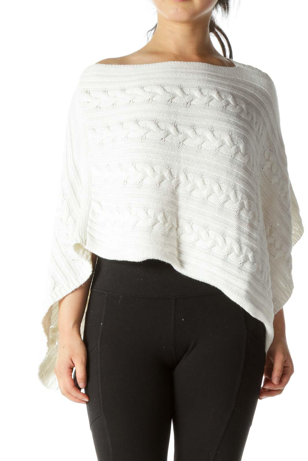 White Cable Knit Short Capelet