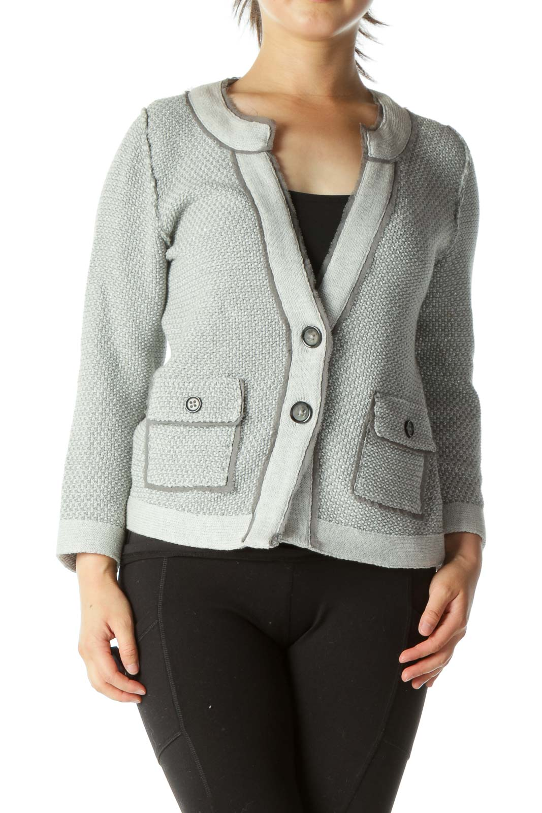 Gray Metallic Pocketed Tweed Cardigan