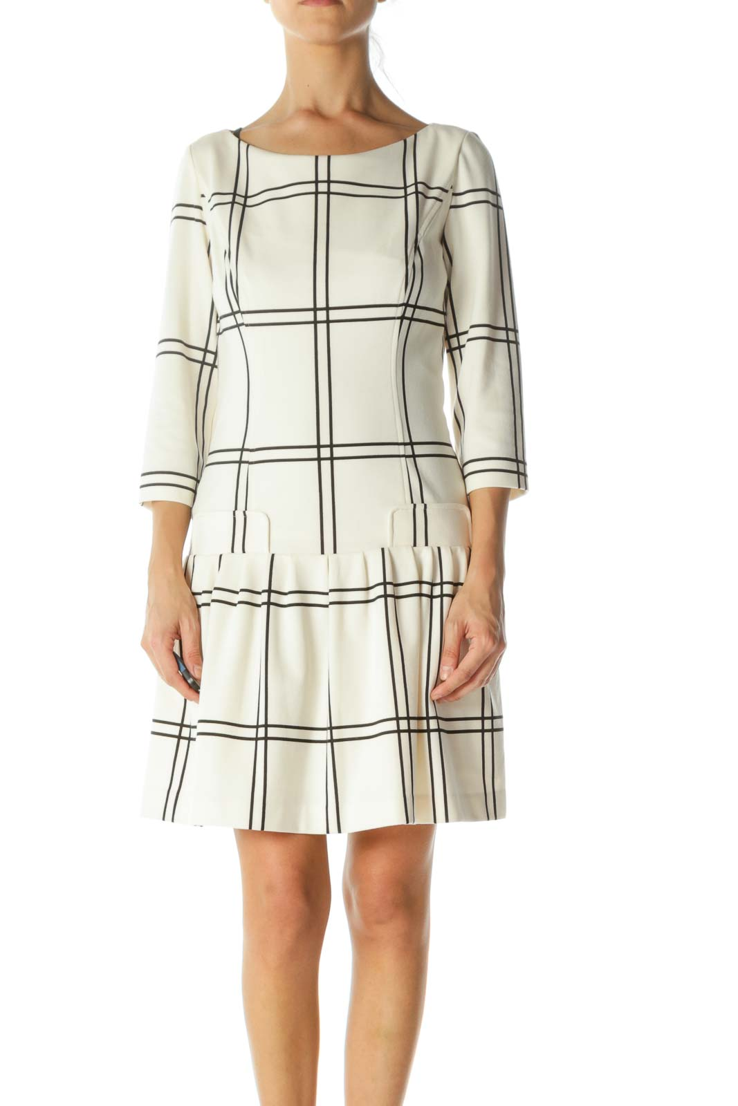 Black Cream Plaid Pleated-Skirt Long Sleeve Stretch Dress