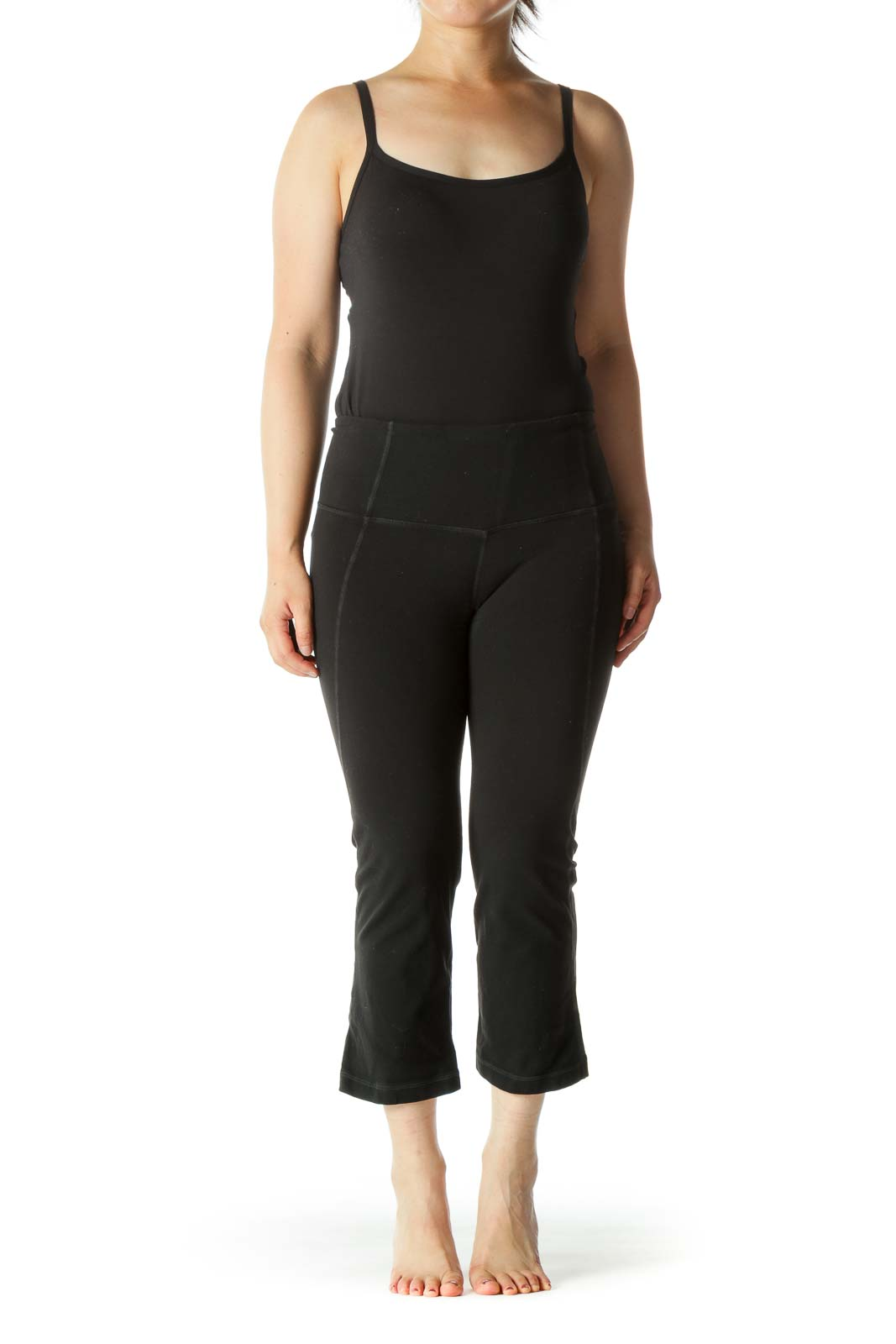 Black Leg Opening Upper Back Scrunch Detail Cropped Active Pants