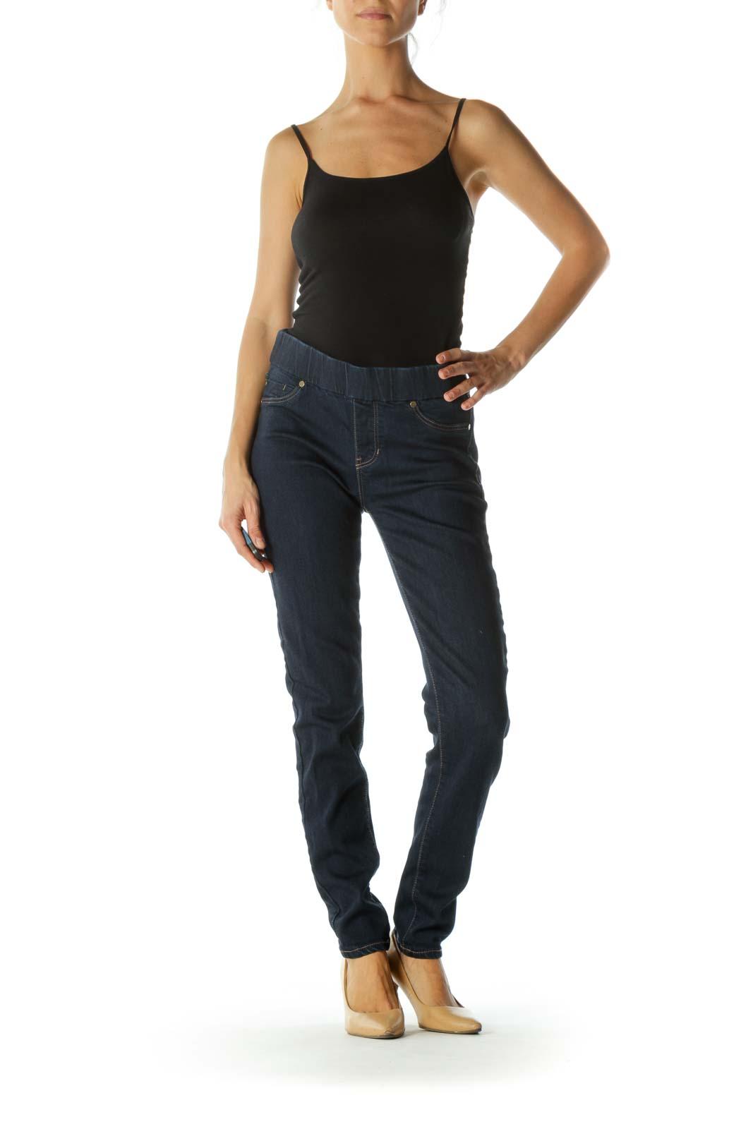 Blue Dark-Wash Elastic Waist-Band Faux-Front-Pockets Denim Legging
