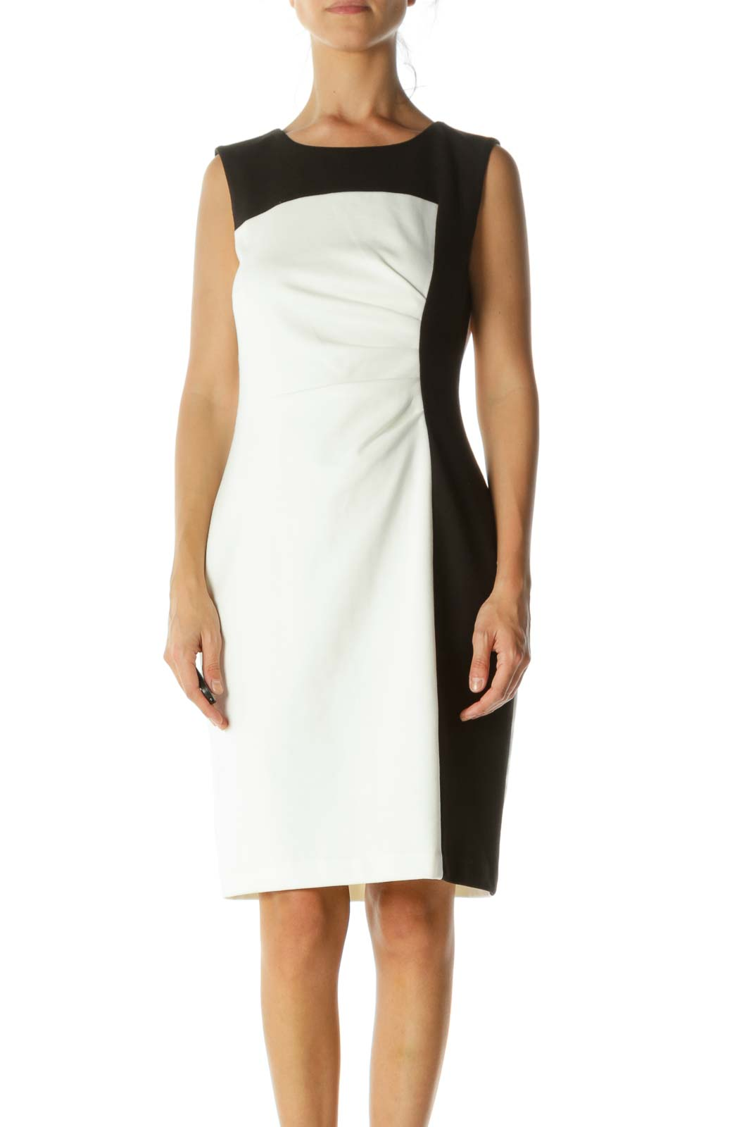 Black Cream Color Block Stretch Side Scrunch-Detail Work Dress