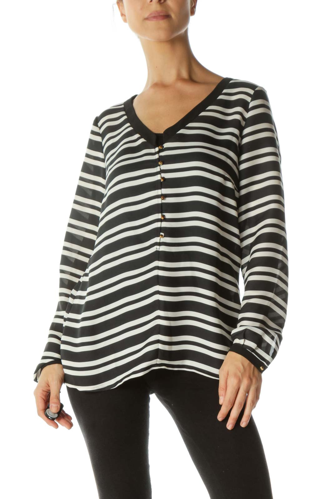 Black and White Striped Long Sleeve Blouse