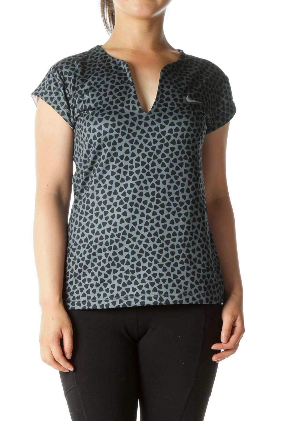 Gray and Black Triangle Print Sports Top