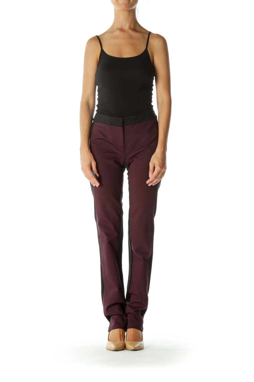 Black Burgundy Color Block Slim-Fit Straight-Leg Stretch Pants