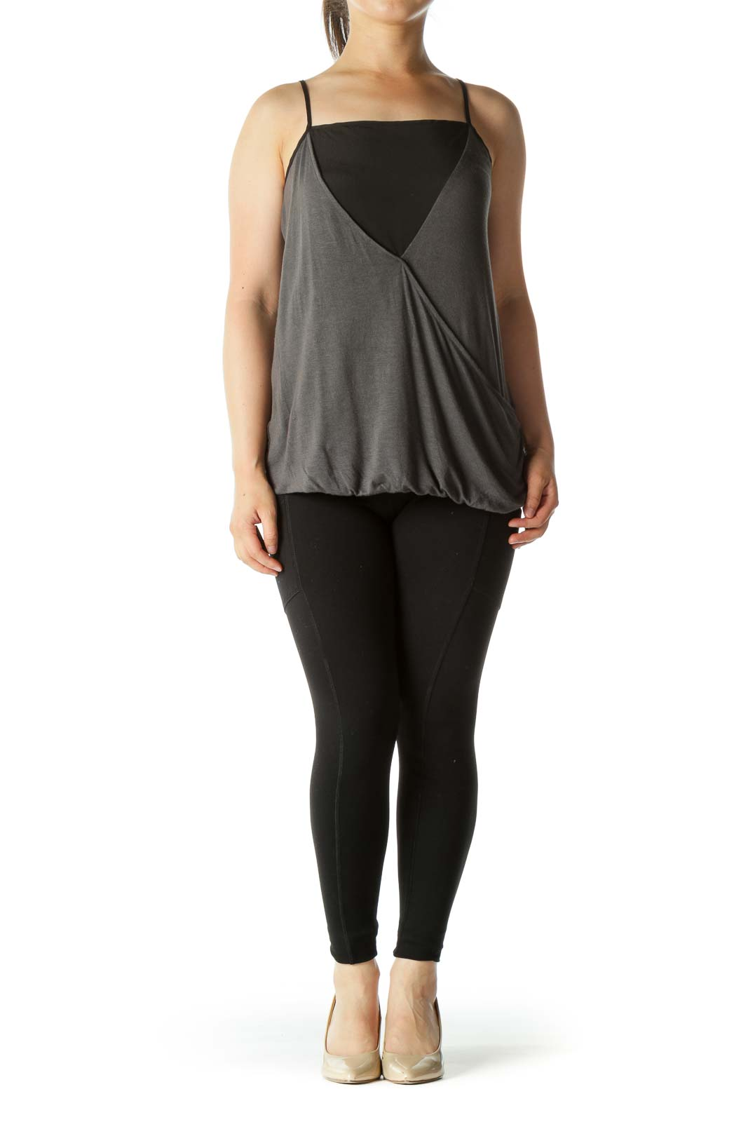Black and Gray Draped Tank Top