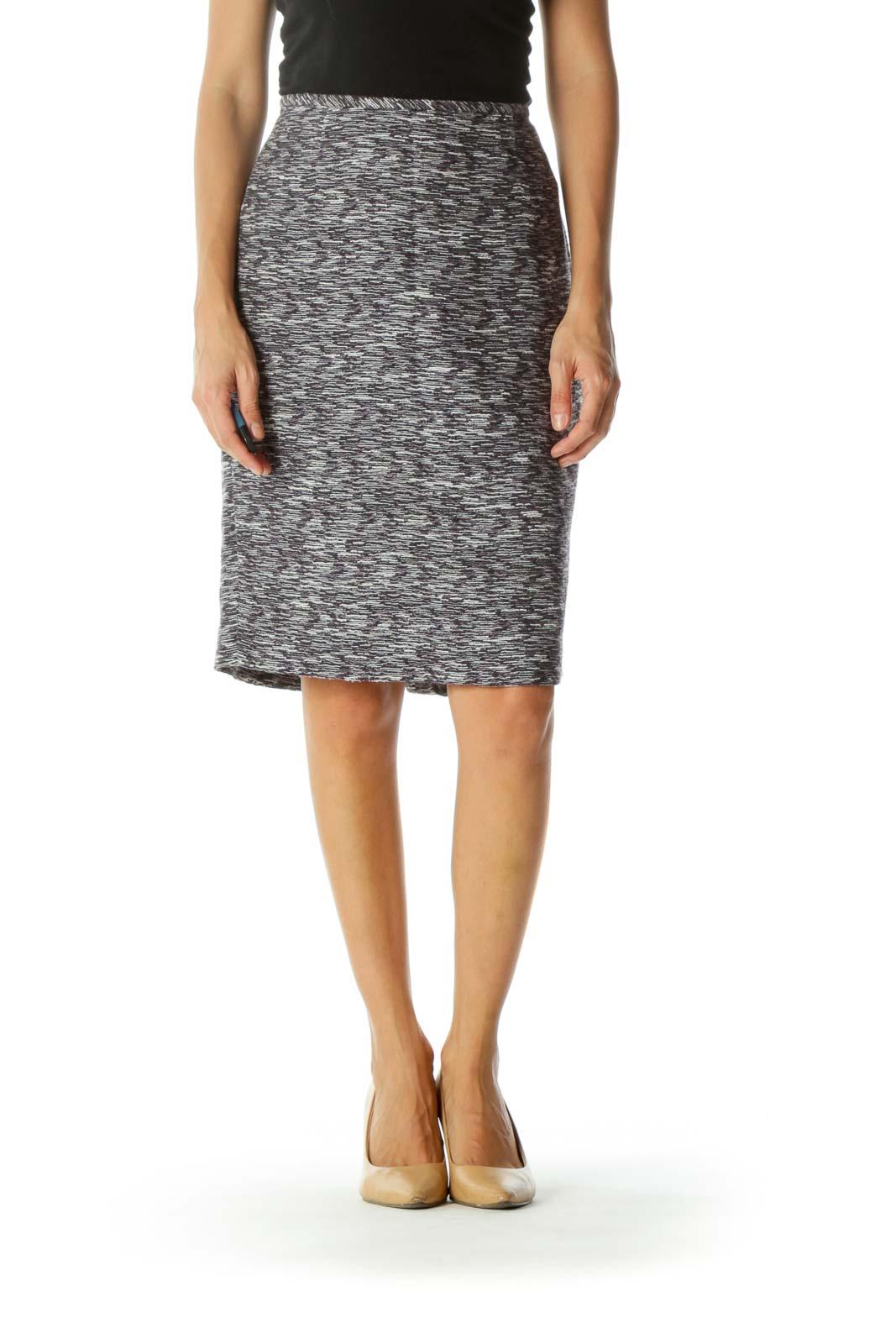 Black Purple White Cotton Linen Blend Cinched Waist Knit Slit Skirt