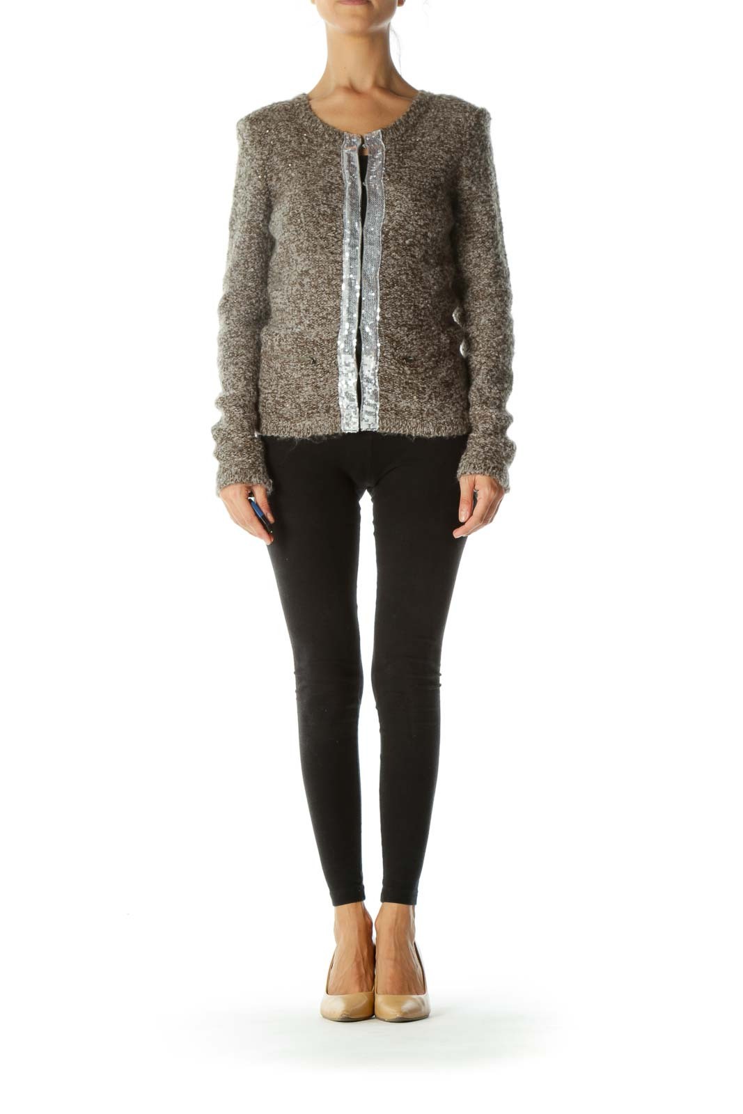 Gray Mohair Sequin Detail Cardigan
