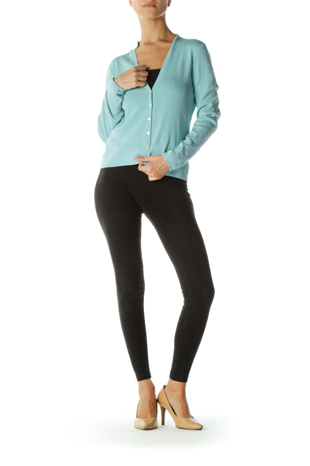 Teal Buttoned Long Sleeve Cardigan