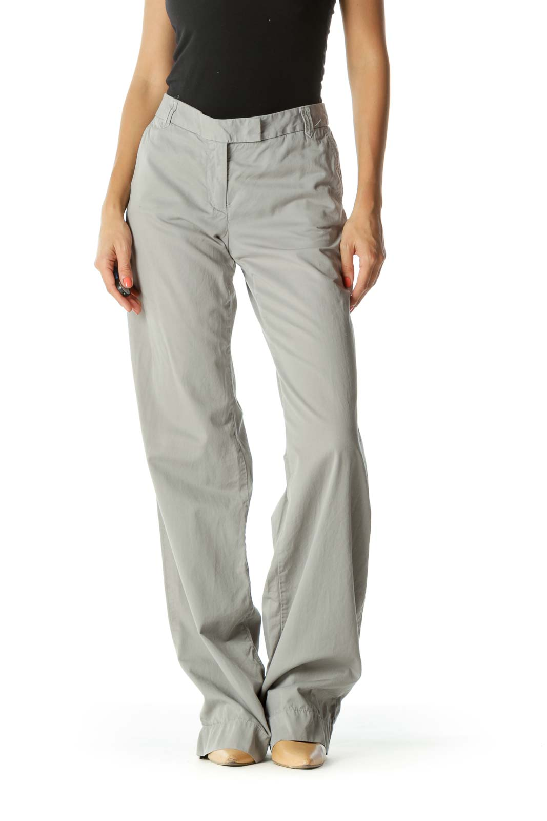 Gray Wide-Leg Work Pants