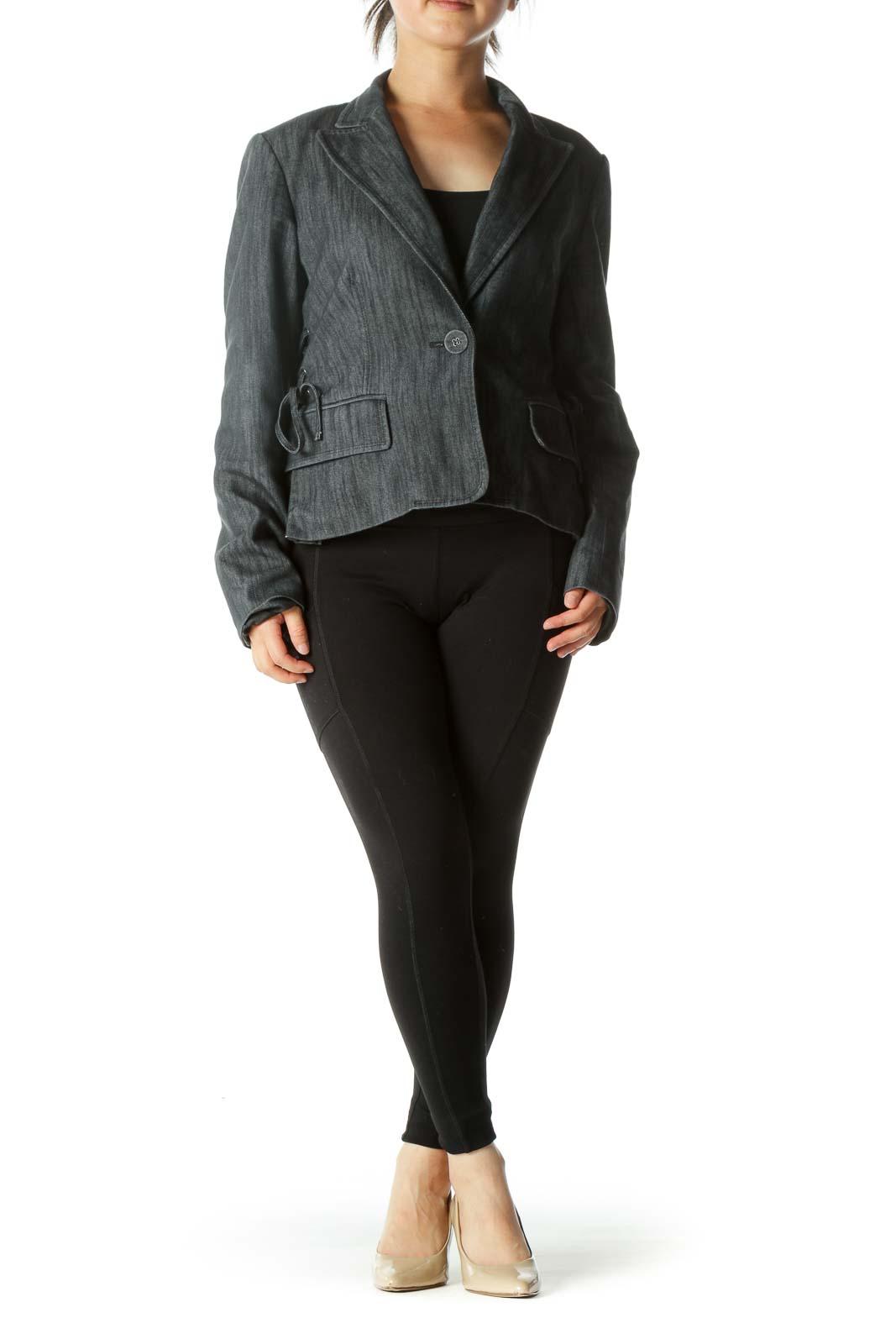 Black Side Detail Denim Blazer