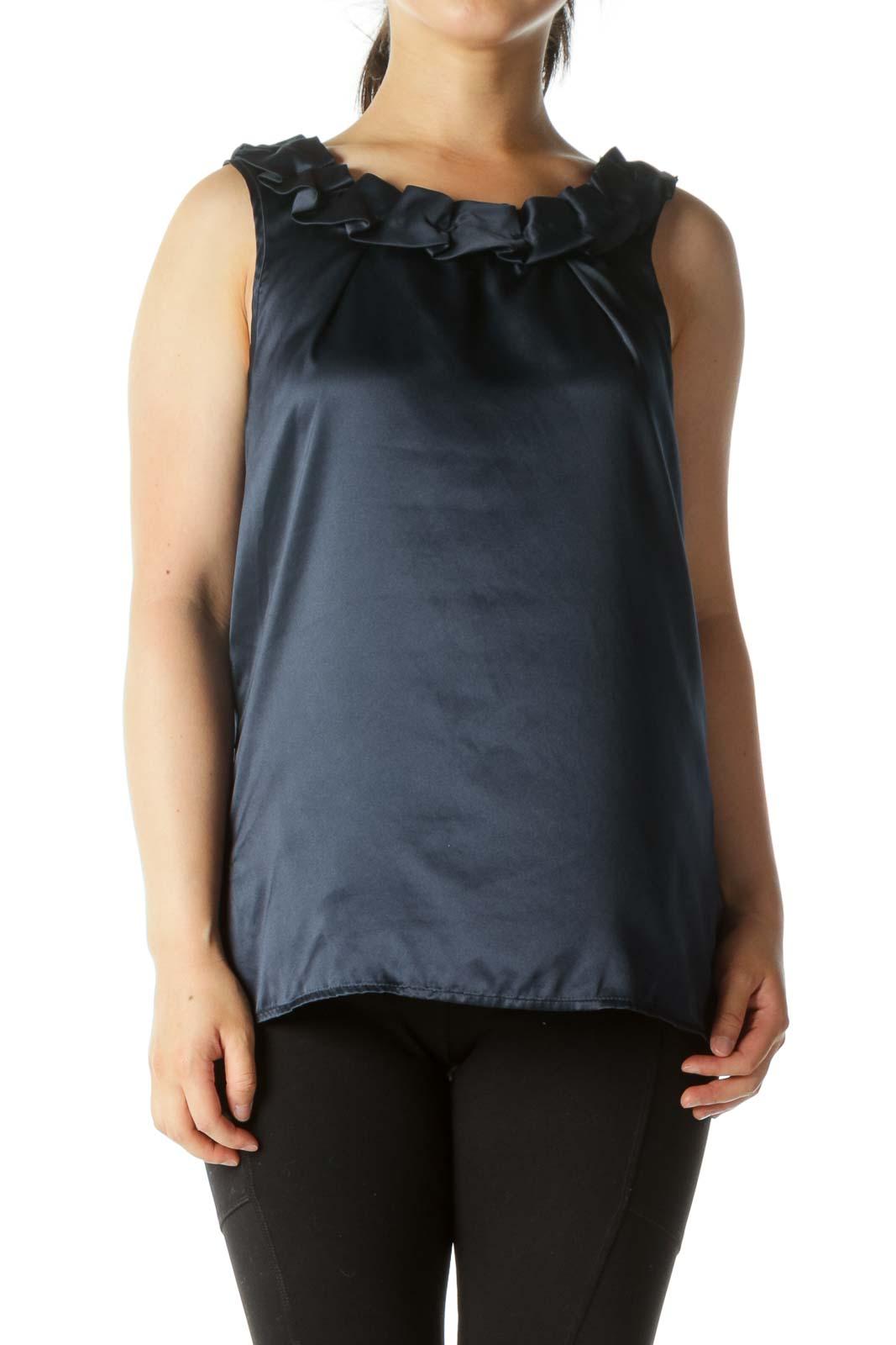Navy Ruffled Collar Sleeveless Tunic