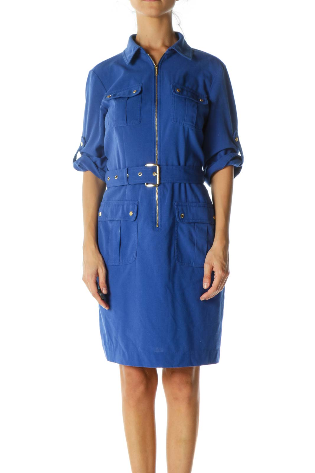 Royal Blue Gold Pocketed Zippered Stretch Roll-Up Sleeves Belted Dress