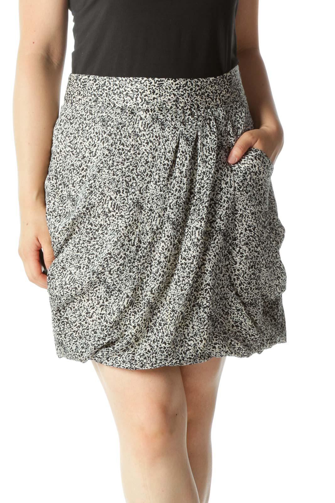 Black Cream Print Pocketed Pleated Pouf Wrap-Design Lightweight-Pouf Soft Skirt