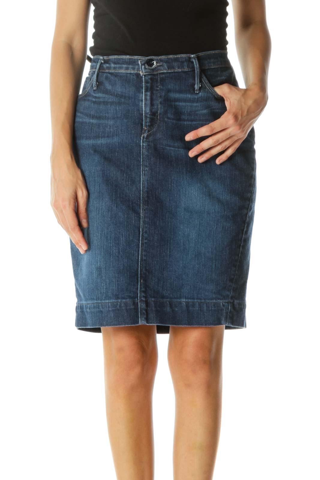 Blue Medium-Wash Denim Stretch Skirt
