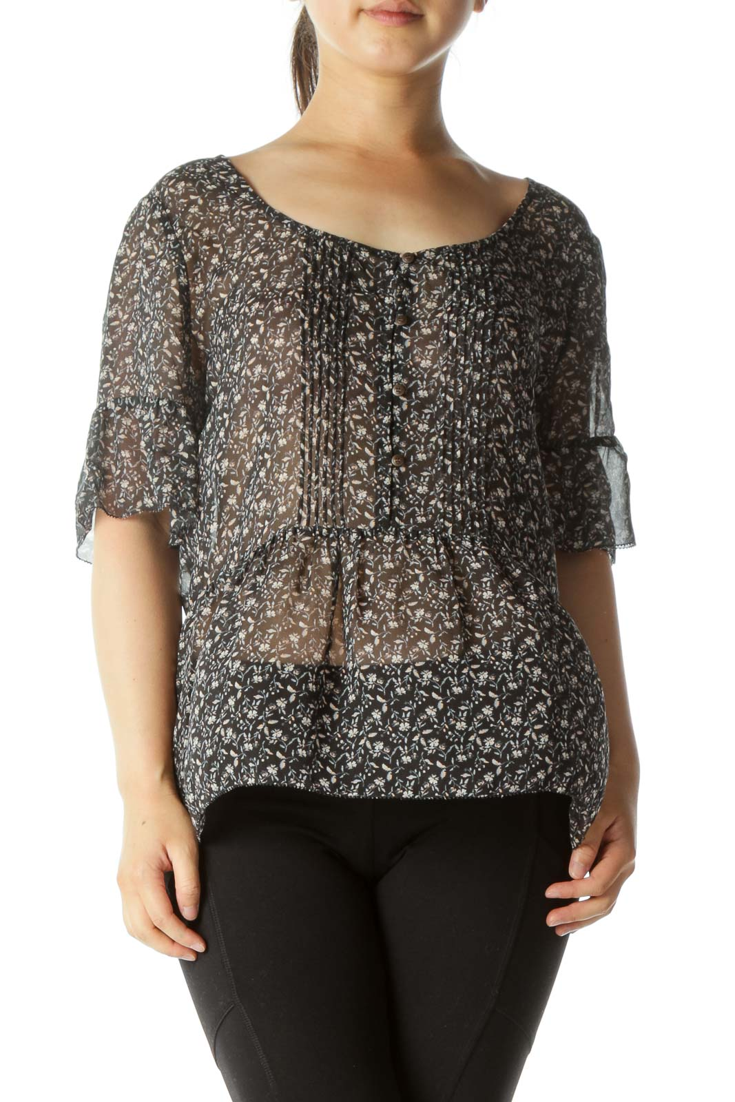 Black Floral Print Silk Blouse