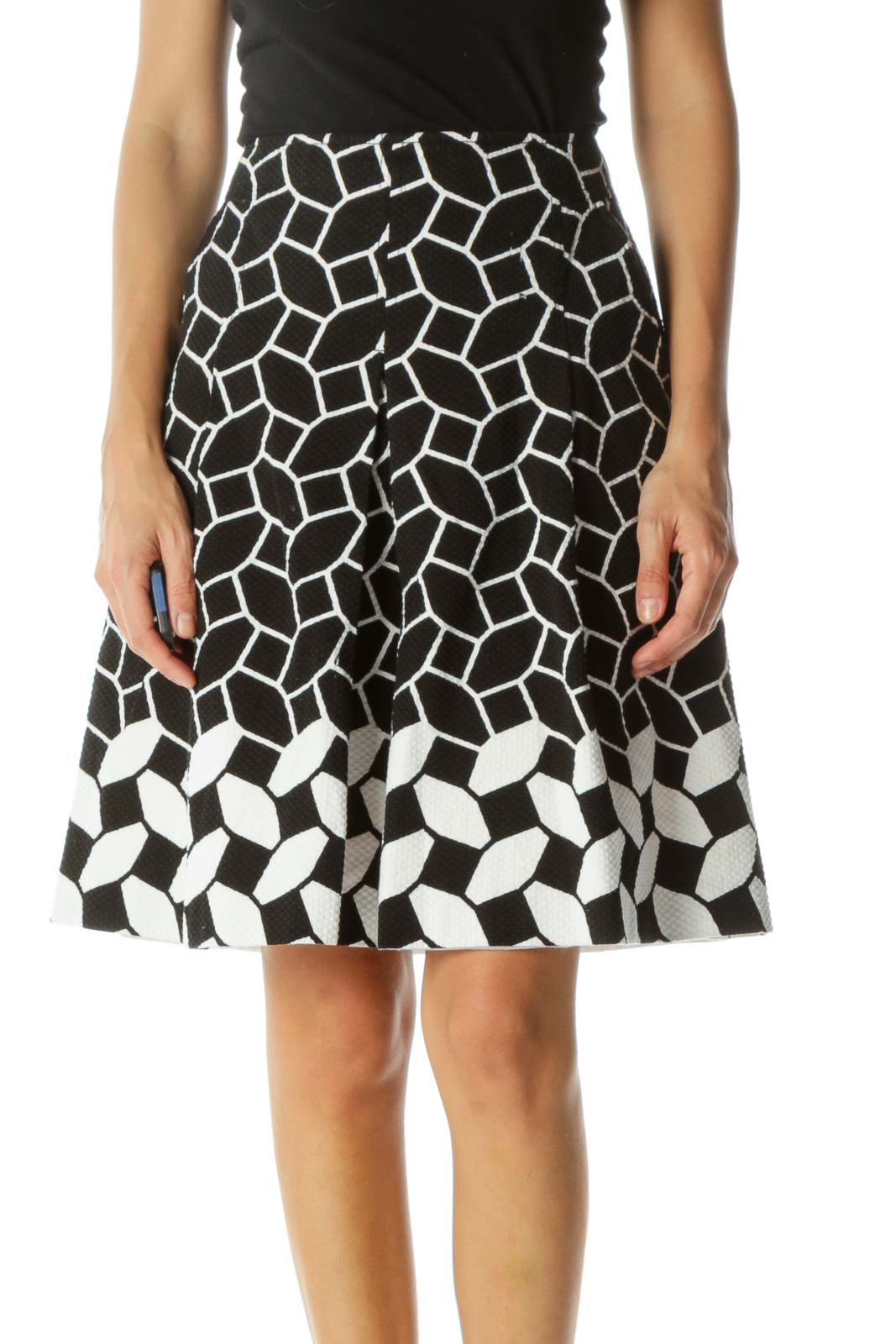 Black White 100% Cotton Pleated Pocketed Print Flared Skirt