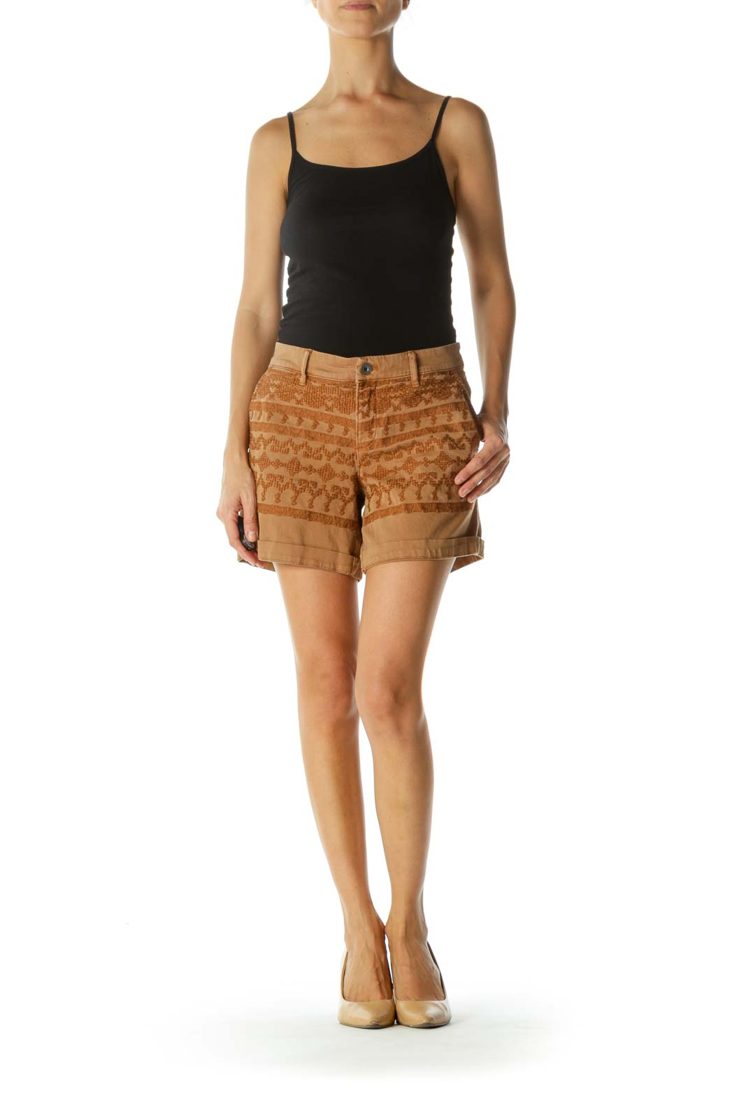 Tan Beige Cotton Soft Embroidered Pattern Stretch Pocketed Shorts