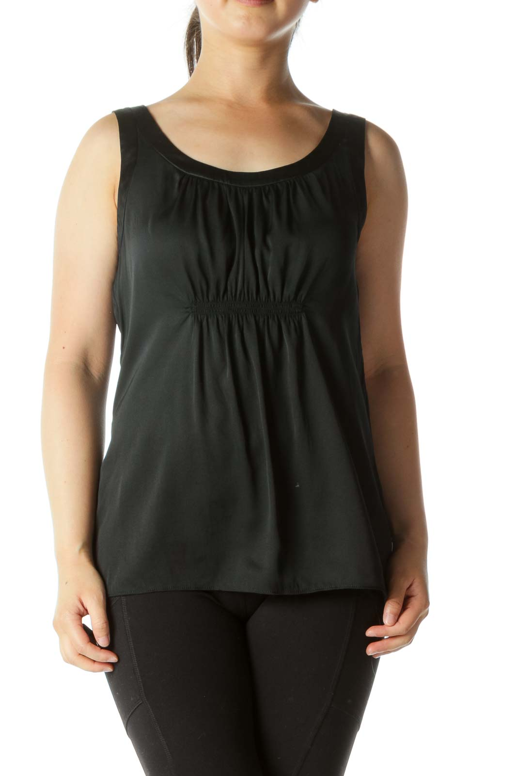 Black Silk Blend Round Neck Scrunch Front Detail Tank Top