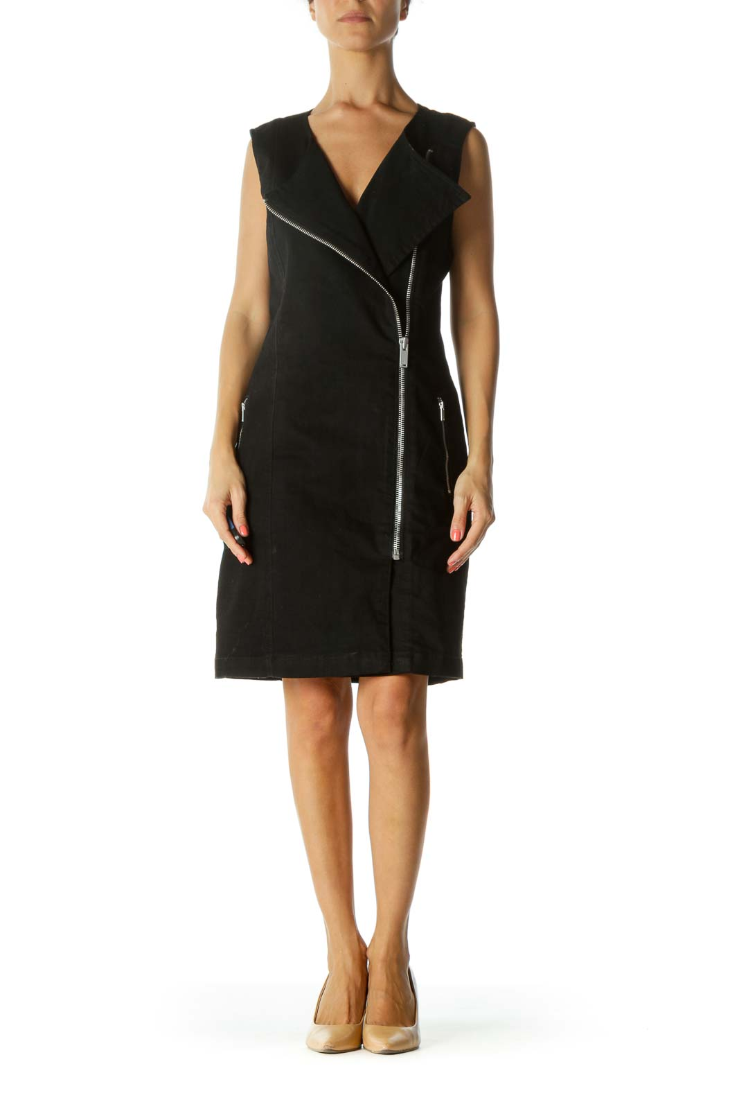 Black Side Zipper Work Dress