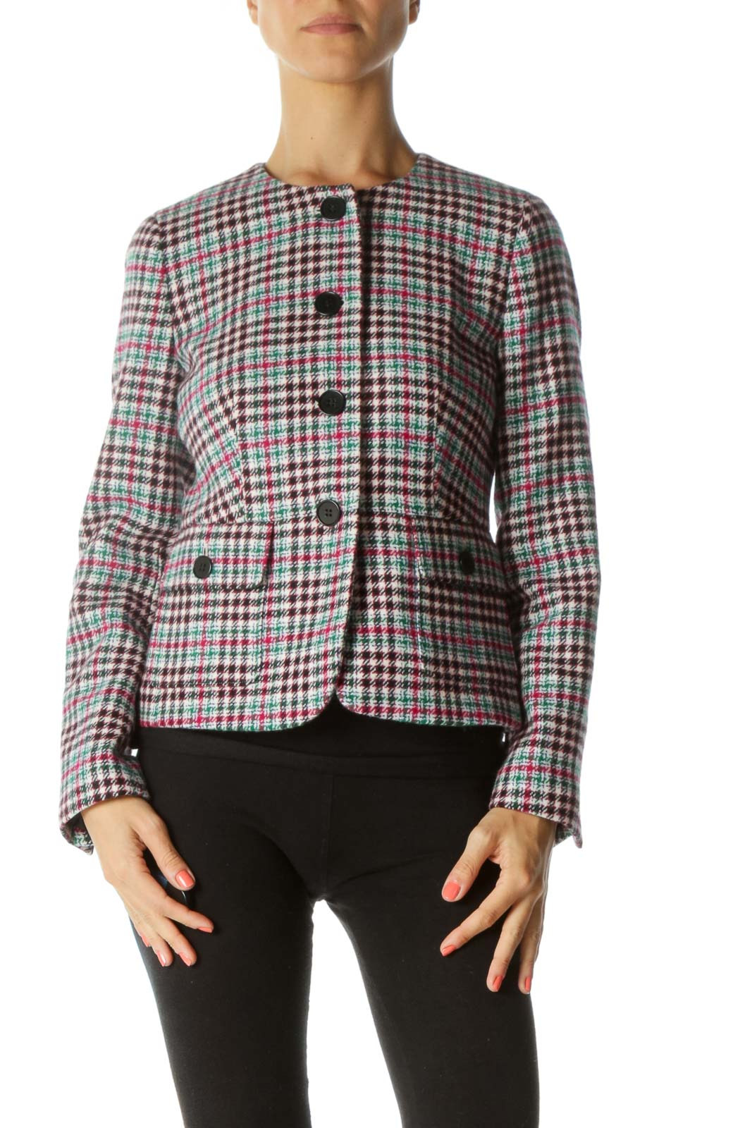 Black, Green and Pink Multicolor Tweed Jacket