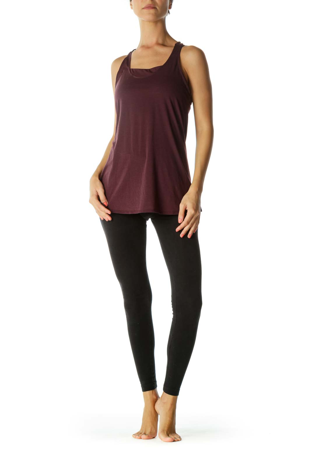 Burgundy 2-in-1 Sports Top