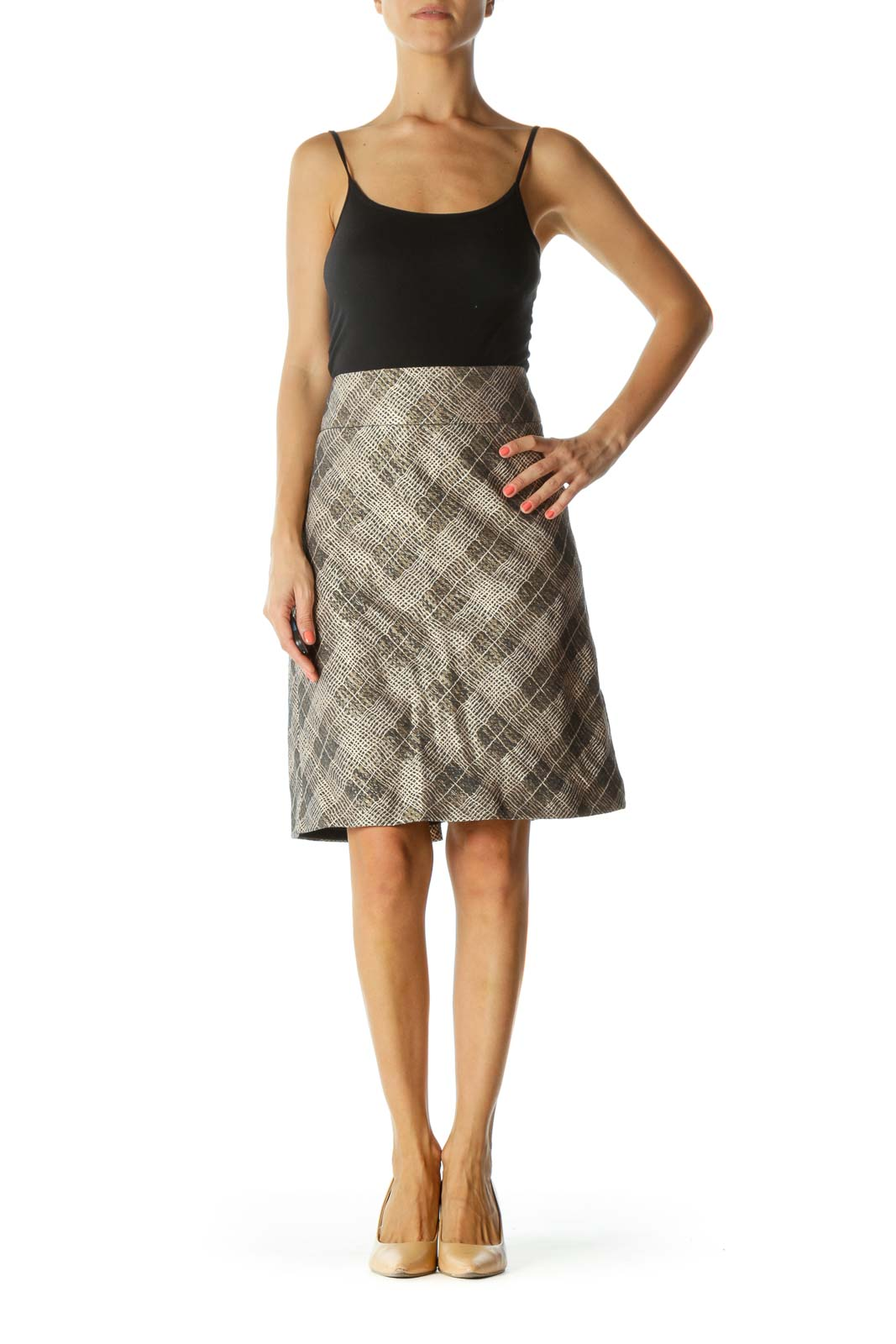 Brown and Cream Pencil Skirt