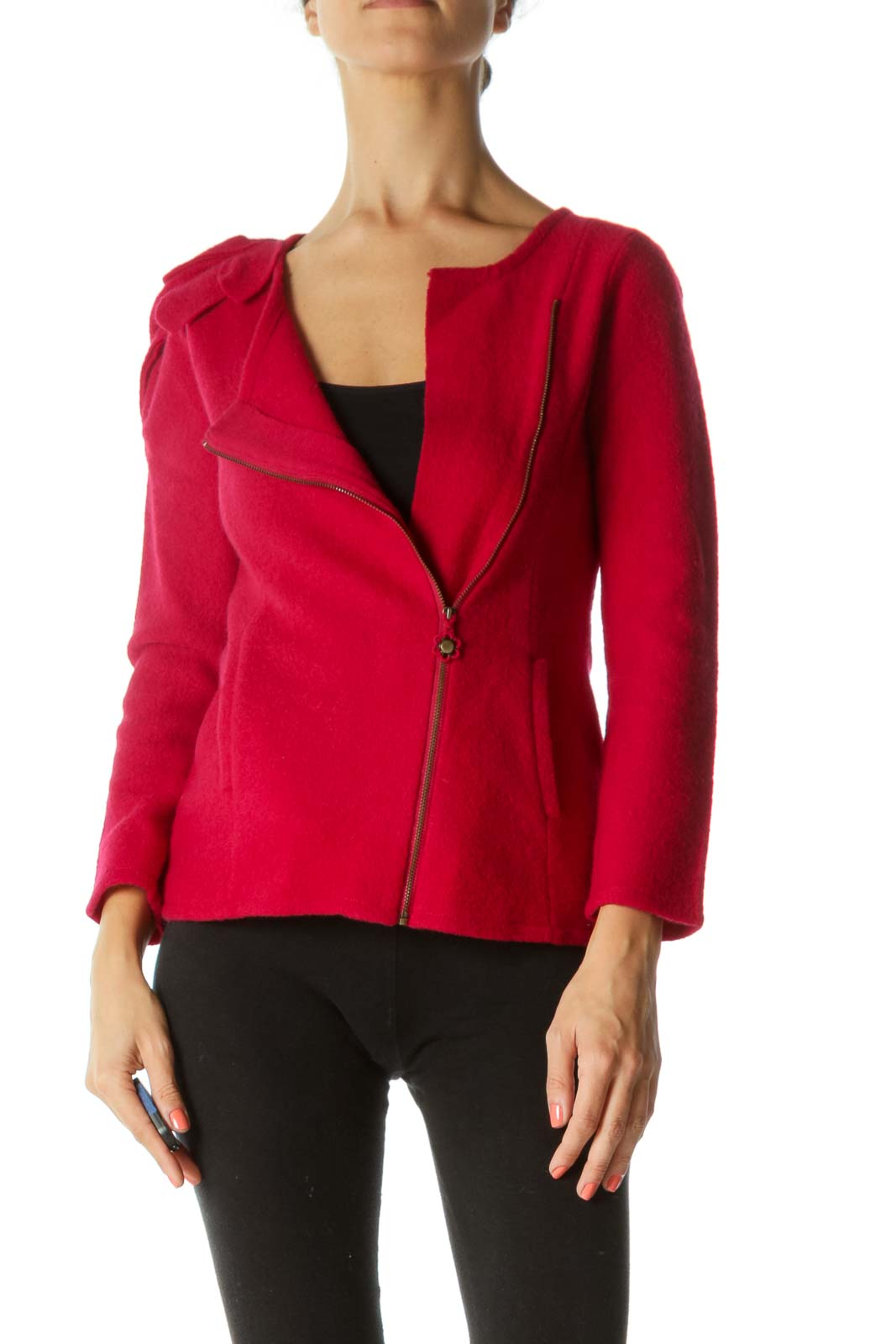 Red Side Zip Jacket with Flower Shoulder