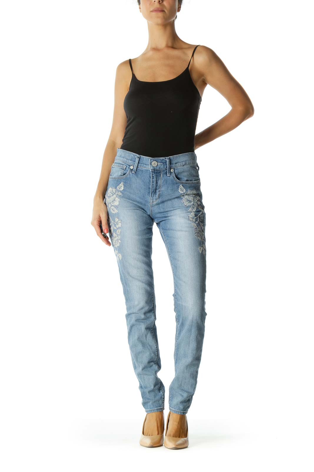 Blue Light-Wash Floral Embroidered Jeans
