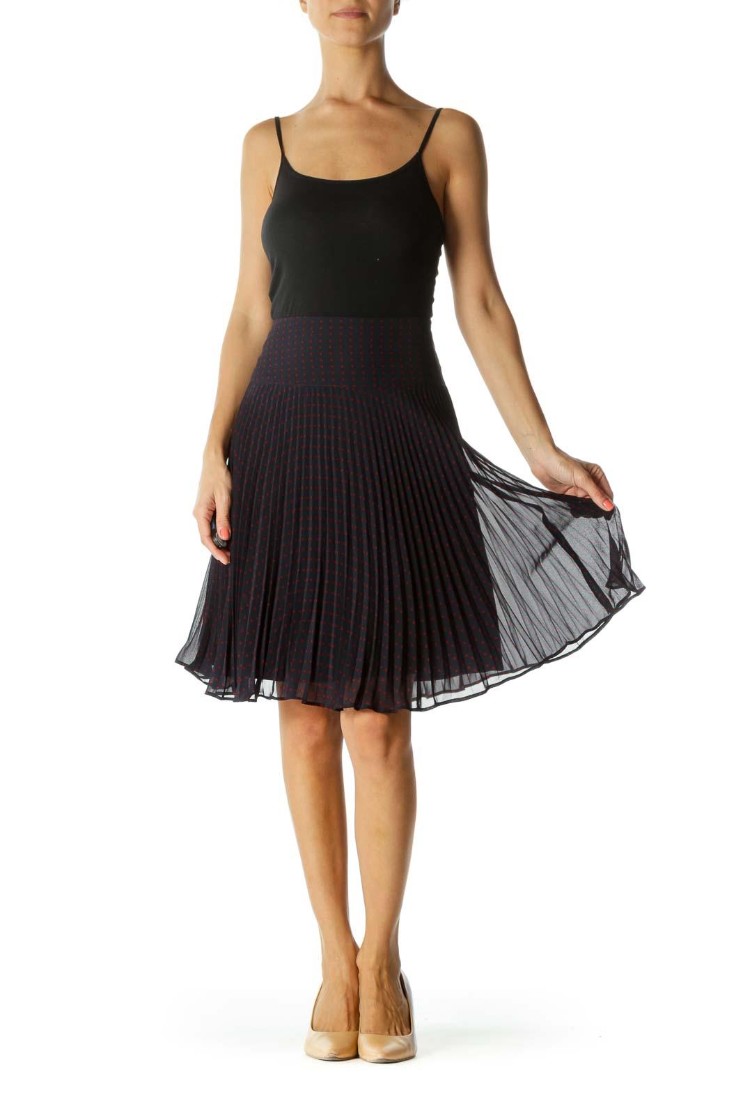 Burgundy and Navy Polka-Dot Pleated Skirt