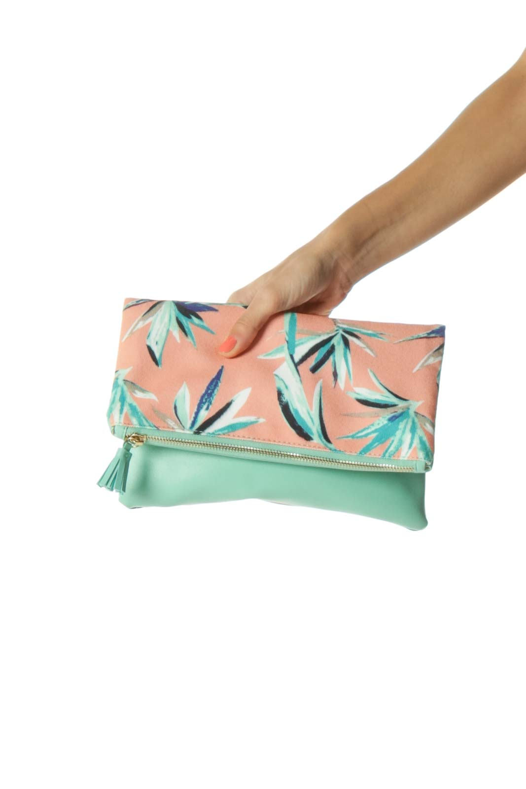 Mint and Pink Tropical Print Clutch
