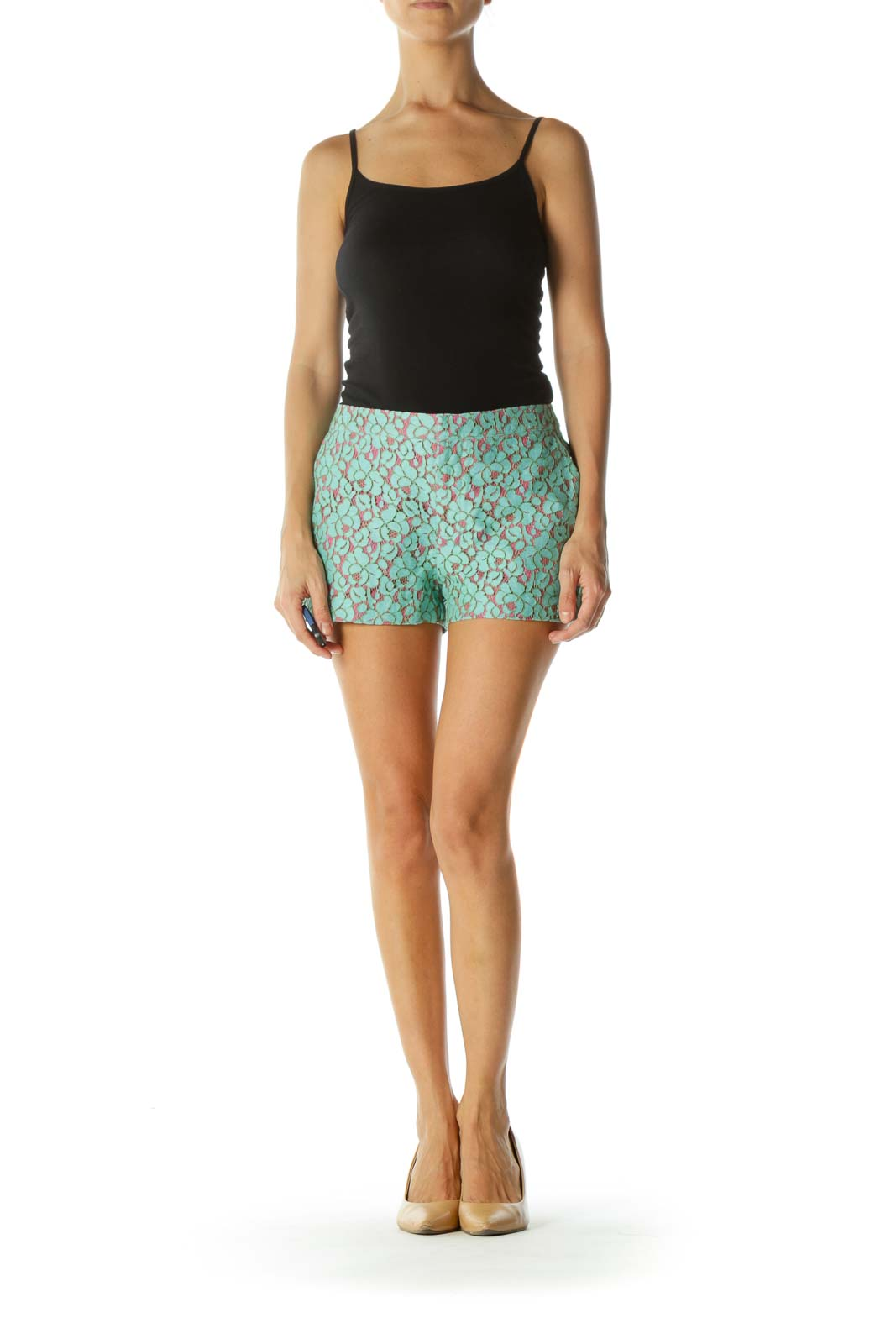 Teal and Pink Lace Shorts