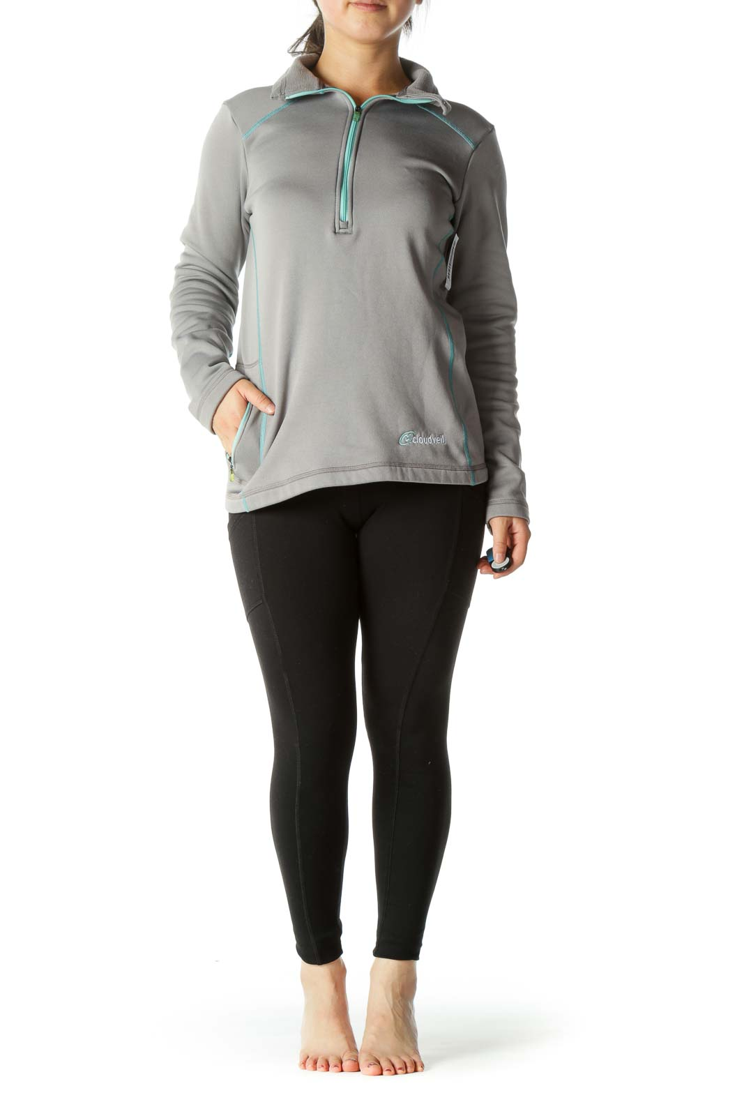 Grey and Teal High Neck Zippered Sports Jacket