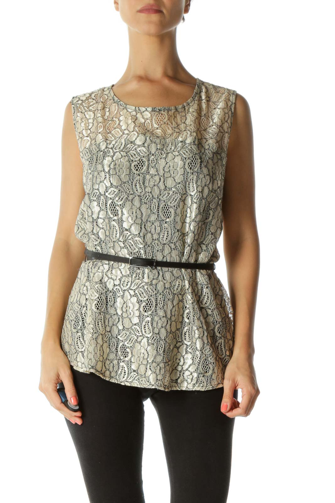 Black and Cream Lace Tunic with Belt