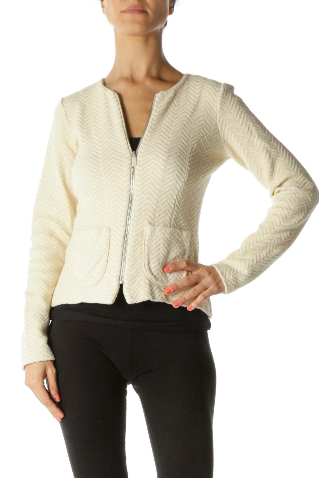 Cream Zig-zag Pattern Tweed Jacket