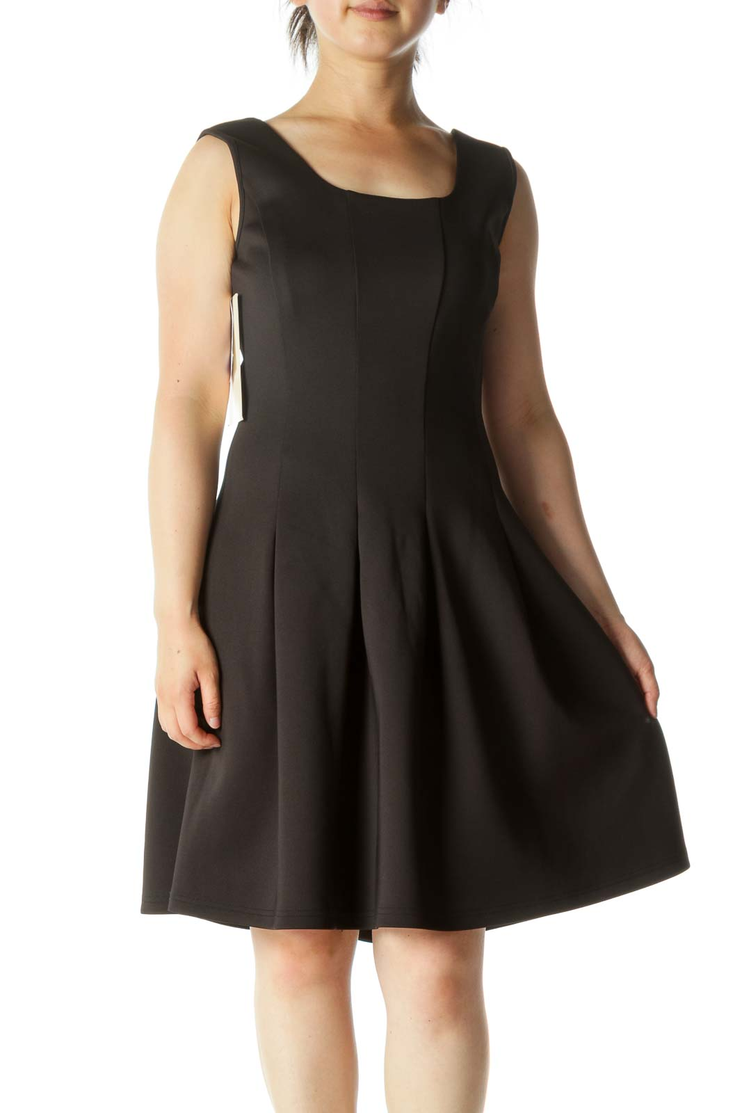 Black A-Line Pleated Work Dress